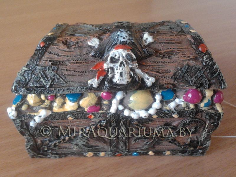 Сундук с черепом - декор аквариума фото